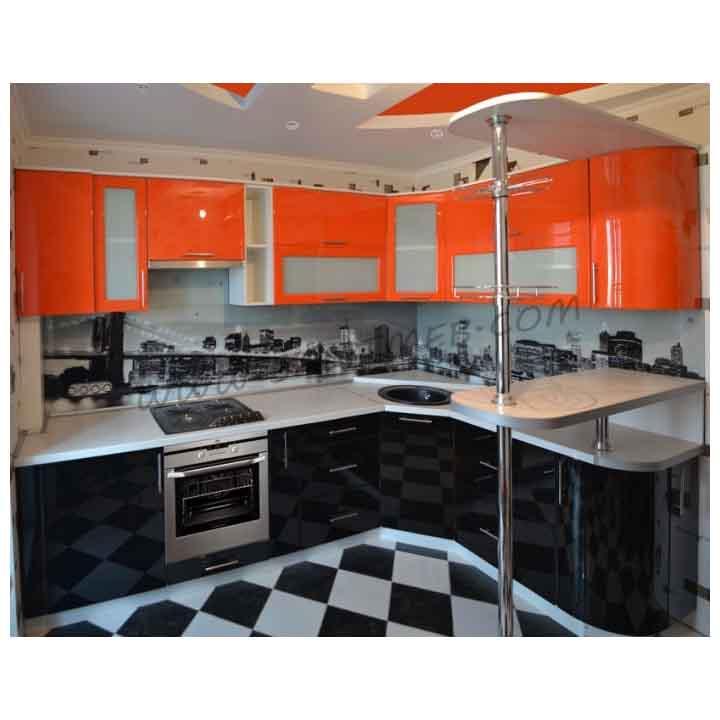 Черная кухня с оранжевым фото